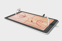 Concept of computer games in basketball at digital tablet Stock Photo