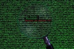 Concept computer het binnendringen in een beveiligd computersysteem Stock Foto