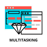 Concept of computer multitasking icon. Modern flat editable line design vector illustration, concept of computer multitasking icon, for graphic and web design Stock Photos