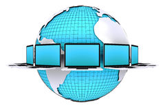 Concept for computer network connection around world. 3D render of concept for labtop connection around world on white background Royalty Free Stock Photography