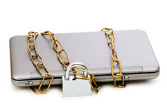 Concept of computer security. With laptop and chain Royalty Free Stock Images