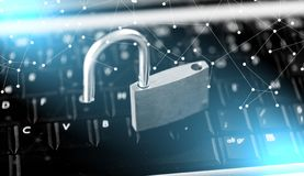 Concept of computer security; light effect. Computer security concept with a padlock on a keyboard; light effect royalty free stock photo