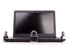 Concept of computer security with padlock as shield over laptop Stock Image