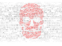 Concept of computer security. The skull of the hexadecimal code. Pirate online. Cyber criminals. Hackers cracked the code Royalty Free Stock Images