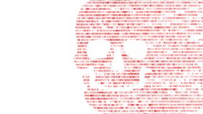 Concept of computer security. The skull of the hexadecimal code. Pirate online. Cyber criminals. Hackers cracked the code. stock footage