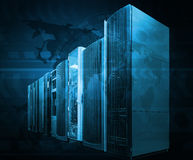 Concept of computer server technologies for big data management. Supercomputer terminal in datacenter Royalty Free Stock Image