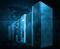 Concept of computer server technologies for big data management. Supercomputer terminal in datacenter