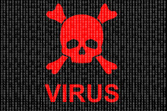 Concept of computer virus. Binary code and red skull Royalty Free Stock Photography