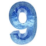 Blue water or ice font part of colletion. Concept conceptual 3D illustration blue water or ice font part of collection isolated on white background,metaphor to Royalty Free Stock Photos