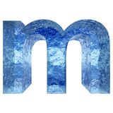 Blue water or ice font part of colletion. Concept conceptual 3D illustration blue water or ice font part of collection isolated on white background,metaphor to stock illustration