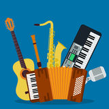 Concept of concert musical instruments Royalty Free Stock Photo