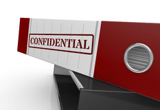 Concept of confidential data. Close up view of an office folder label with text: confidential (3d render Royalty Free Stock Photo