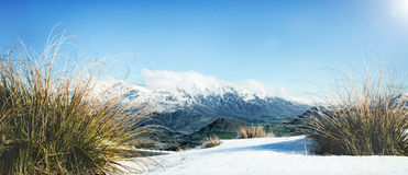 Concept congelé par paysage froid de neige de montagne d'hiver images libres de droits
