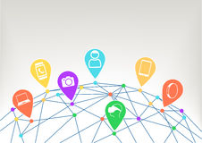 Concept of connected devices like smart phone, smart watch, wearables, camera in internet of things (IoT) era. Consumer and world grid with connected dots with Royalty Free Stock Photo