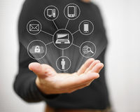 Concept of connected devices,sharing,transfering files,backup an Royalty Free Stock Photography