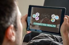 Concept of connected health. Connected health concept on a tablet Stock Photo
