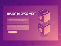 Concept of constructing and development application, isometric vector blocks constructor, connection of two parts 3d. Concept of constructing and development Royalty Free Stock Photography