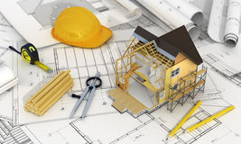 Concept of construction and architect design. 3d render of house in building process with tree, calculator and pencils on the blurred blueprints. We see stock photography