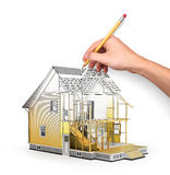 Concept of construction and architect design. 3d render of house in building process with tree. Hand drawing sketch. We see constituents of roof frame and stock photography