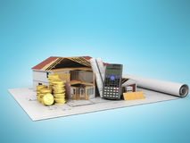 Concept of construction calculations construction of a private h. Ouse blueprints money 3d render on a blue background Royalty Free Stock Photography