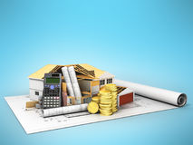 Concept of construction calculations home construction blueprint. S money 3d render on a blue background Stock Photo