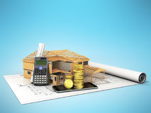 Concept of construction calculations home construction money 3d Royalty Free Stock Images