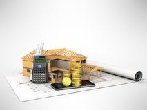 Concept of construction calculations home construction money 3d Royalty Free Stock Photography