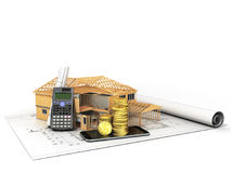 Concept of construction calculations home construction money 3d Stock Photography