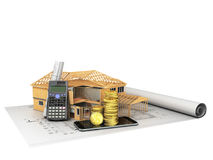 Concept of construction calculations home construction money 3d. Render on a white background no shadow Stock Image