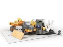 Concept construction calculations road construction money dump c Royalty Free Stock Image