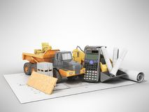 Concept construction calculations road construction money dump c Royalty Free Stock Images
