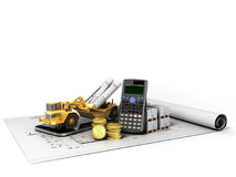Concept of construction calculations road excavator coins constr Royalty Free Stock Photo