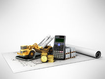 Concept of construction calculations road excavator coins constr Stock Photography