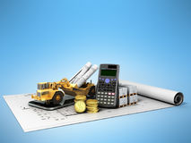Concept of construction calculations road excavator coins constr. Uction materials phone calculator 3d render on blue background Royalty Free Stock Image