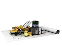 Concept of construction calculations road excavator coins constr. Uction materials phone calculator 3d render on white background no shadow Royalty Free Stock Images