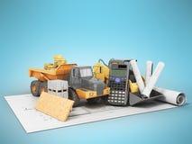 Concept construction calculations road construction money dump c Stock Image