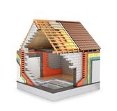Concept of construction. 3d render of a house in the process of construction. Thermal insulation Royalty Free Stock Photo