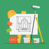 Concept Construction Flip Chart Level Bricks Bucket Cement Paint Stock Image