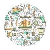 Concept of constructions tools. Vector color modern line style icons concept of constructions tools. Pliers, drill, spatula, helmet, shovel, saw, screwdriver Stock Images
