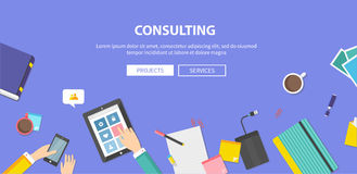 Concept of Consulting, Service, Teamwork vector illustration
