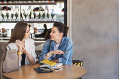 Concept of consumerism, woman assistant helping her client. Female consultant and her customer sitting with copy space in right Royalty Free Stock Image