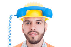 Concept of contact person for construction company Stock Image