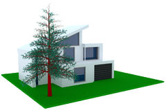 Concept of contemporary house with garage Royalty Free Stock Image