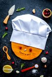 Concept cook work on dark background top view royalty free stock photography