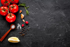 Concept cook work on dark background top view mock up Royalty Free Stock Photo