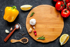 Concept cook work on dark background top view mock up Royalty Free Stock Image