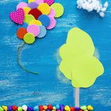 The concept of a cookie house on a wooden blue sky cloud background family path. stock images
