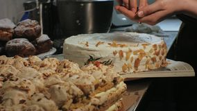 The concept of cooking. Professional pastry chef makes a delicious cake, closeup. The concept of cooking. Professional pastry chef prepares a delicious cake with stock footage