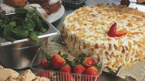 The concept of cooking. Professional pastry chef makes a delicious cake, closeup. The concept of cooking. Professional pastry chef prepares a delicious cake with stock video