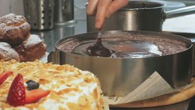 The concept of cooking. Professional pastry chef makes a delicious cake, closeup. The concept of cooking. A professional pastry chef pours a ready-made sponge stock video